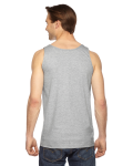 Heather Grey MADE IN USA Unisex Fine Jersey Tank as seen from the back