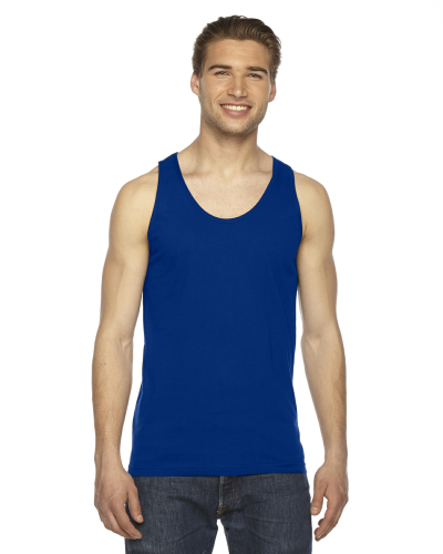 Lapis MADE IN USA Unisex Fine Jersey Tank as seen from the front
