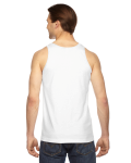 White MADE IN USA Unisex Fine Jersey Tank as seen from the back