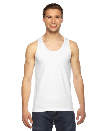 White MADE IN USA Unisex Fine Jersey Tank as seen from the front