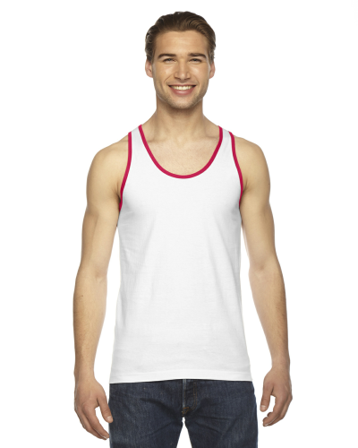 White Red MADE IN USA Unisex Fine Jersey Tank as seen from the front