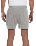 Grey Heather Knit Boxer Short as seen from the back