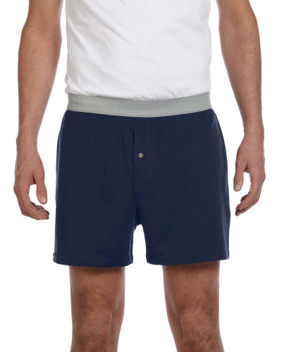 Navy Knit Boxer Short as seen from the front