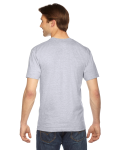 Ash Grey MADE IN USA Unisex Fine Jersey Short-Sleeve V-Neck as seen from the back