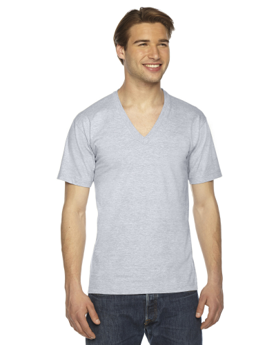 Ash Grey MADE IN USA Unisex Fine Jersey Short-Sleeve V-Neck as seen from the front