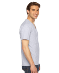 Ash Grey MADE IN USA Unisex Fine Jersey Short-Sleeve V-Neck as seen from the sleeveleft