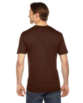 Brown MADE IN USA Unisex Fine Jersey Short-Sleeve V-Neck as seen from the back