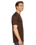 Brown MADE IN USA Unisex Fine Jersey Short-Sleeve V-Neck as seen from the sleeveleft