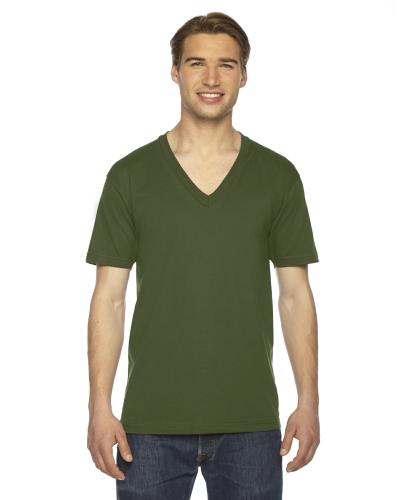 Olive MADE IN USA Unisex Fine Jersey Short-Sleeve V-Neck as seen from the front