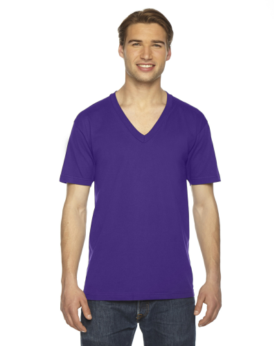 Purple MADE IN USA Unisex Fine Jersey Short-Sleeve V-Neck as seen from the front
