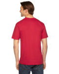 Red MADE IN USA Unisex Fine Jersey Short-Sleeve V-Neck as seen from the back