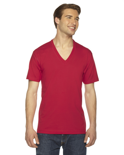 Red MADE IN USA Unisex Fine Jersey Short-Sleeve V-Neck as seen from the front