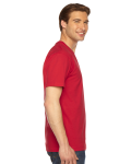 Red MADE IN USA Unisex Fine Jersey Short-Sleeve V-Neck as seen from the sleeveleft