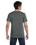 Asphalt Unisex 4.2 oz. V-Neck Jersey T-Shirt as seen from the back