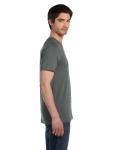 Asphalt Unisex 4.2 oz. V-Neck Jersey T-Shirt as seen from the sleeveleft