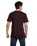 Brown Unisex 4.2 oz. V-Neck Jersey T-Shirt as seen from the back