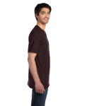 Brown Unisex 4.2 oz. V-Neck Jersey T-Shirt as seen from the sleeveleft