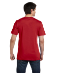 Canvas Red Unisex 4.2 oz. V-Neck Jersey T-Shirt as seen from the back