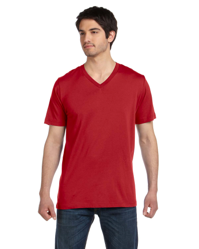 Canvas Red Unisex 4.2 oz. V-Neck Jersey T-Shirt as seen from the front