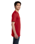 Canvas Red Unisex 4.2 oz. V-Neck Jersey T-Shirt as seen from the sleeveleft