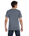 Deep Heather Unisex 4.2 oz. V-Neck Jersey T-Shirt as seen from the back