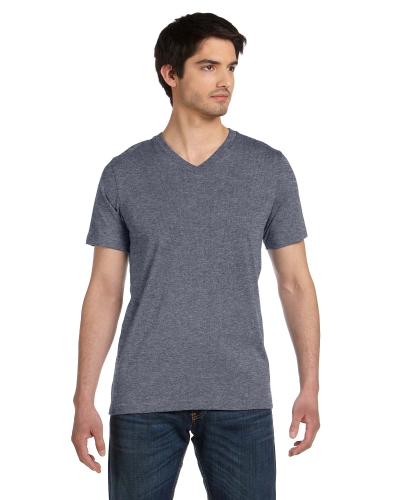 Deep Heather Unisex 4.2 oz. V-Neck Jersey T-Shirt as seen from the front