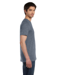 Deep Heather Unisex 4.2 oz. V-Neck Jersey T-Shirt as seen from the sleeveleft