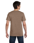 Heather Brown Unisex 4.2 oz. V-Neck Jersey T-Shirt as seen from the back