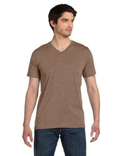 Heather Brown Unisex 4.2 oz. V-Neck Jersey T-Shirt as seen from the front