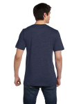 Heather Navy Unisex 4.2 oz. V-Neck Jersey T-Shirt as seen from the back