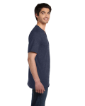 Heather Navy Unisex 4.2 oz. V-Neck Jersey T-Shirt as seen from the sleeveleft