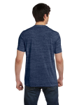 Navy Marble Unisex 4.2 oz. V-Neck Jersey T-Shirt as seen from the back