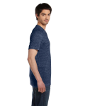 Navy Marble Unisex 4.2 oz. V-Neck Jersey T-Shirt as seen from the sleeveleft