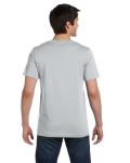 Silver Unisex 4.2 oz. V-Neck Jersey T-Shirt as seen from the back