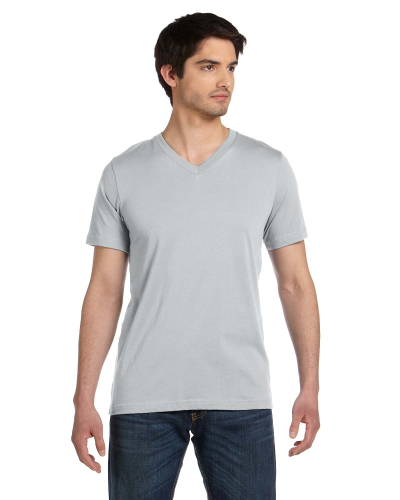 Silver Unisex 4.2 oz. V-Neck Jersey T-Shirt as seen from the front