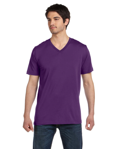 Team Purple Unisex 4.2 oz. V-Neck Jersey T-Shirt as seen from the front