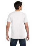 White Unisex 4.2 oz. V-Neck Jersey T-Shirt as seen from the back