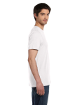 White Unisex 4.2 oz. V-Neck Jersey T-Shirt as seen from the sleeveleft