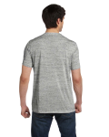 White Marble Unisex 4.2 oz. V-Neck Jersey T-Shirt as seen from the back