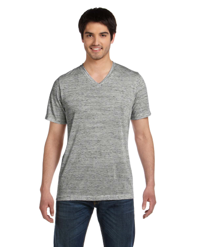 White Marble Unisex 4.2 oz. V-Neck Jersey T-Shirt as seen from the front