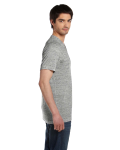 White Marble Unisex 4.2 oz. V-Neck Jersey T-Shirt as seen from the sleeveleft
