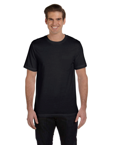 Black Dp Hthr Men's Jersey Short-Sleeve Pocket T-Shirt as seen from the front