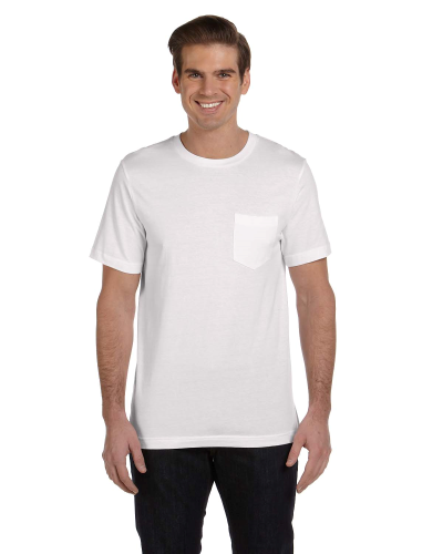 White Men's Jersey Short-Sleeve Pocket T-Shirt as seen from the front