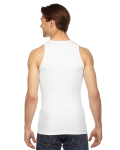 White MADE IN USA Unisex Rib Tank Top as seen from the back