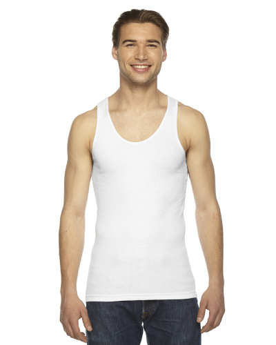 White MADE IN USA Unisex Rib Tank Top as seen from the front