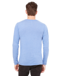 Blue Triblend Men's Jersey Long-Sleeve V-Neck T-Shirt as seen from the back