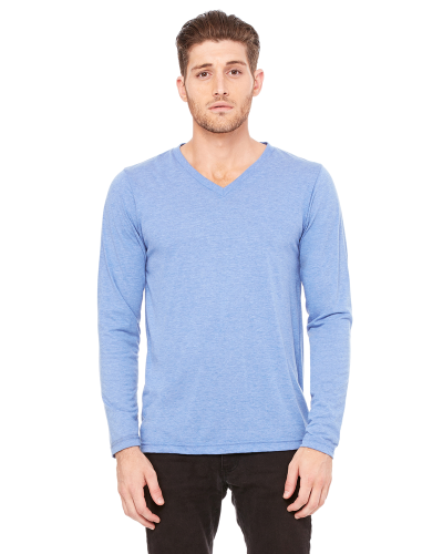 Blue Triblend Men's Jersey Long-Sleeve V-Neck T-Shirt as seen from the front