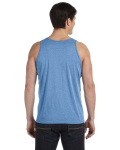 Blue Triblend Unisex Jersey Tank as seen from the back