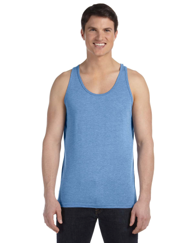 Blue Triblend Unisex Jersey Tank as seen from the front