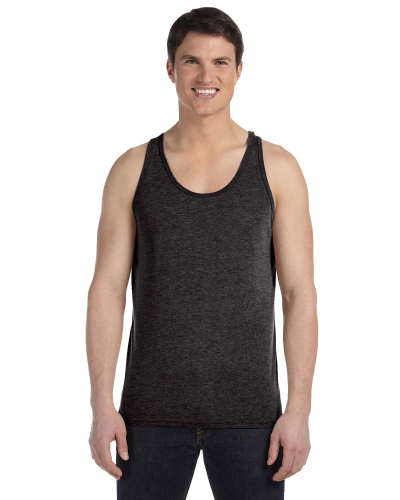 Charcoal Triblend Unisex Jersey Tank as seen from the front